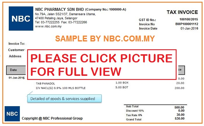 tax invoice sample for gst by nbccommy small